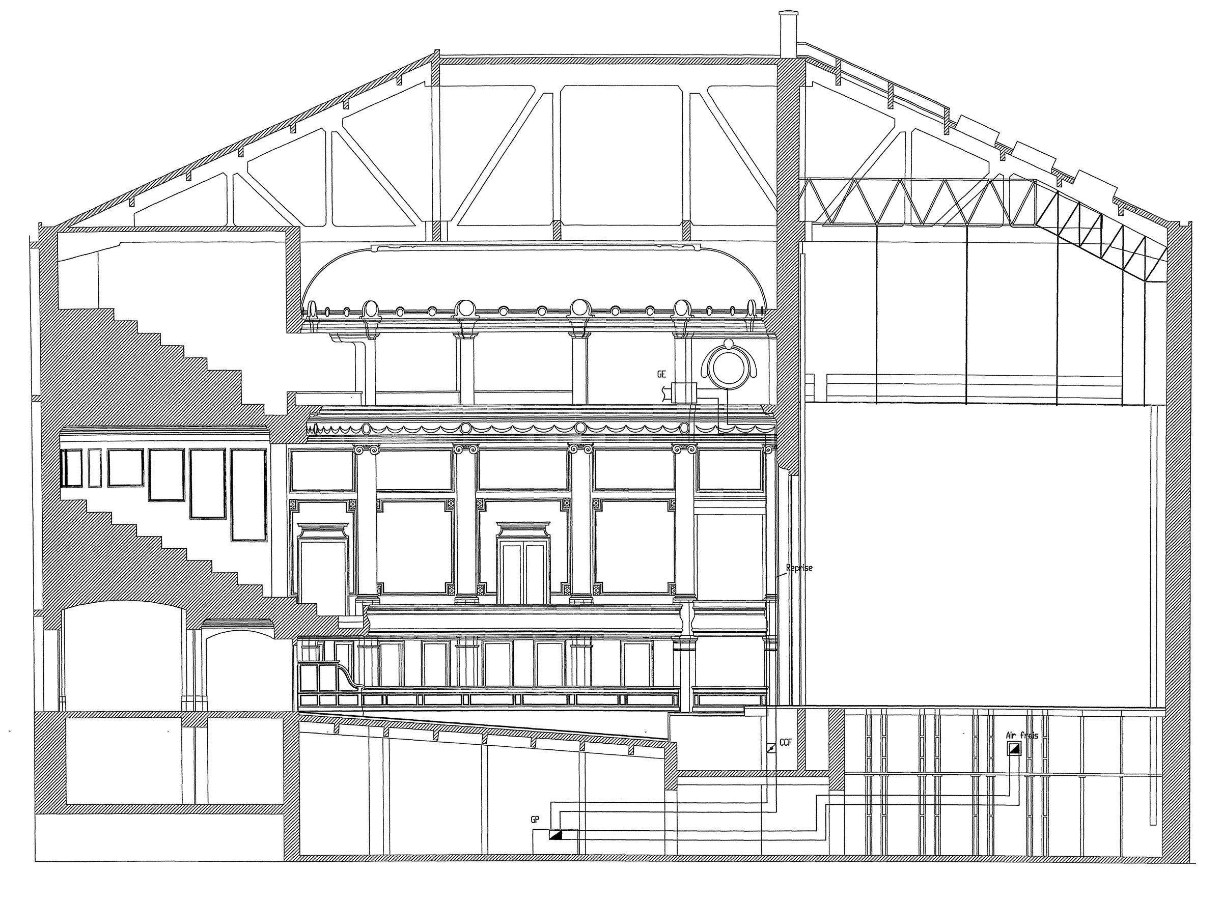 plan coupe théâtre de Spa